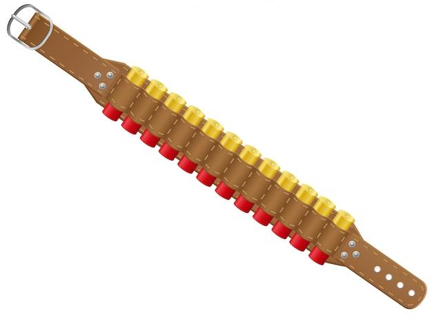 Conchas de escopeta en la ilustración de vector de bandoleras
