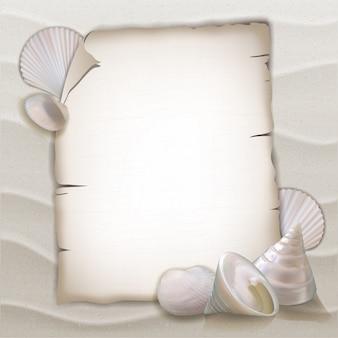 Conchas y hoja de papel en blanco