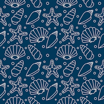 Conchas de mar de patrones sin fisuras. conchas tropicales bajo el agua