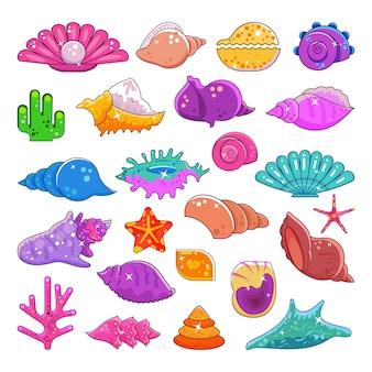 Conchas de mar vector de dibujos animados marinos exóticos almeja y coral estrella de mar coralina aislado