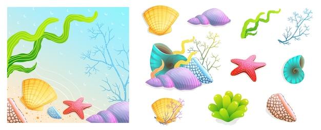 Conchas marinas, corales y una colección de composición de fondo de vacaciones en la playa de dibujos animados coloridos