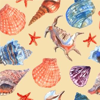 Conchas marinas y estrellas de mar en el fondo de playa vacaciones de verano playa