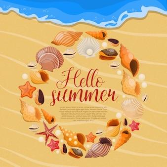 Conchas marinas de verano con marco de conchas redondas y título hola verano