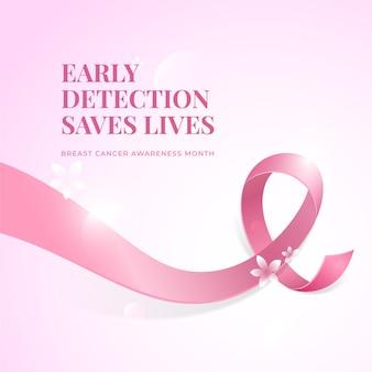 Conciencia del cáncer de cinta rosa de diseño realista