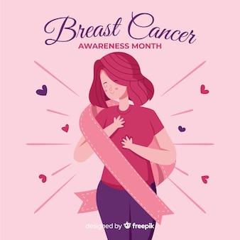 Conciencia de cáncer de mama plana con cinta
