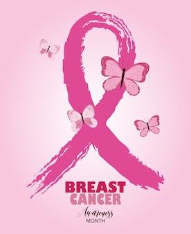 Concienciación sobre el cáncer de mama, cinta rosa, estilo grunge y mariposas, vector, y, ilustración, diseño