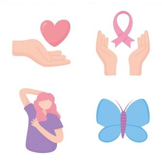 Concienciación sobre el cáncer de mama mujer mariposa corazón y cinta elementos vector diseño e ilustración