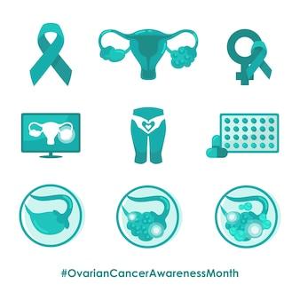 Concienciación sobre el cáncer de ovario, atención a las mujeres, persona sana, ilustración, píldoras, curar la enfermedad del tratamiento de radiología