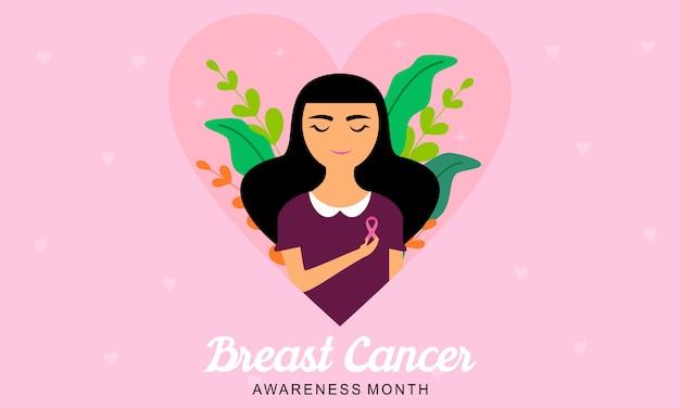 Concientización sobre el cáncer de mama con logotipo de cinta e ilustración