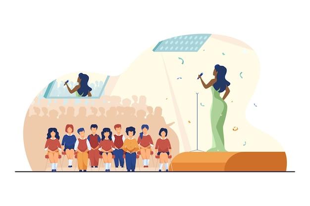 Concierto para escolares. artista cantando en el escenario, niño en la ilustración de vector plano de sala de audiencia. entretenimiento, fiesta escolar, actuación.