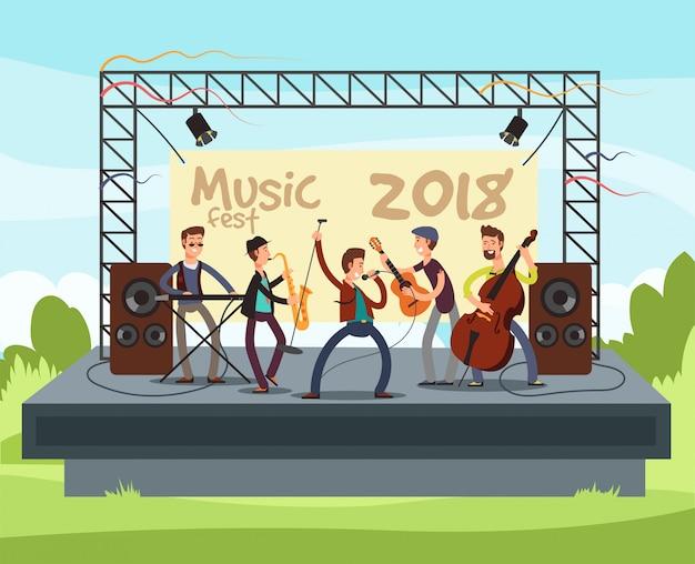 Concierto del festival de verano al aire libre con la banda de música pop tocando música al aire libre en el escenario ilustración vectorial