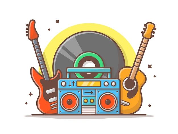 Concierto de instrumento musical con guitarra, boombox y big vinyl music icon blanco aislado