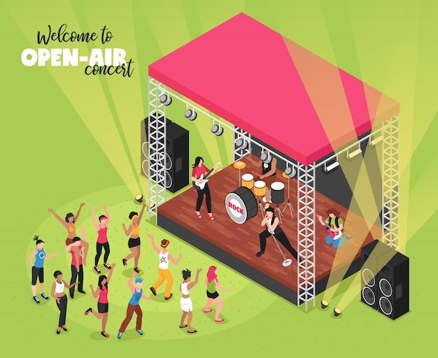 Concierto de música al aire libre isométrico con banda de rock en el escenario y espectadores en la zona de fanáticos