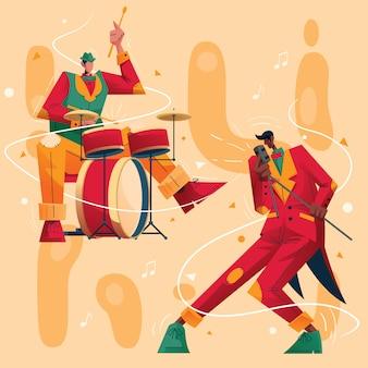 Concierto de música de jazz ilustración de personaje baterista y vocalista