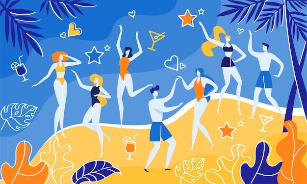 Concierto de músico cerca del mar, fiesta en la playa de verano.