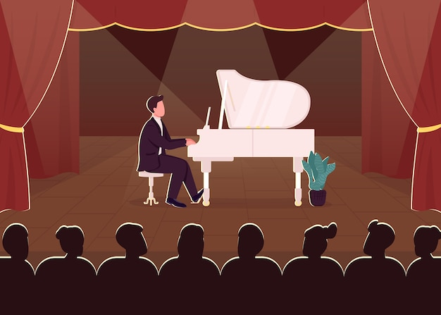 Concierto de piano en vivo color plano. músico clásico en el escenario. rendimiento de instrumentos musicales. juega espectáculo en solitario. pianista en traje formal personaje de dibujos animados 2d con foco en el fondo