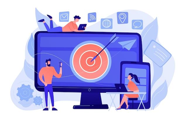 Los concumers con dispositivos obtienen anuncios y mensajes específicos. orientación multidispositivo, audiencia de alcance, concepto de marketing multidispositivo