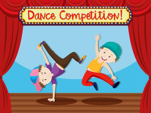 Concurso de baile callejero en el escenario.