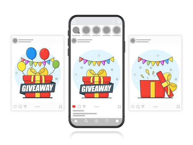 Concurso de redes sociales. banner de sorteo para redes sociales. plantilla.