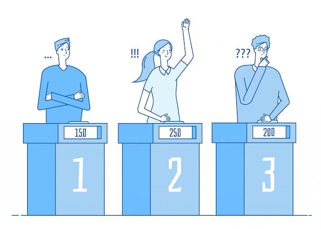 Concurso de televisión. programa de televisión de juegos de trivia de personas inteligentes con signo de interrogación respuesta niña ganadora. concepto lineal de prueba