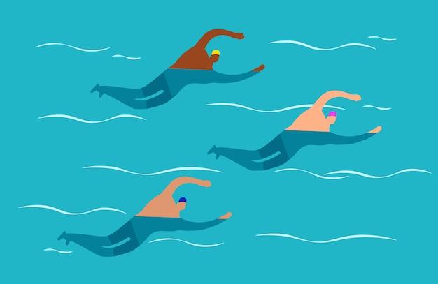 Concursos de natación en aguas abiertas - ilustración de natación grupal para hombres