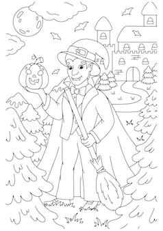 Conde drácula con escoba y calabaza para halloween página de libro para colorear para niños