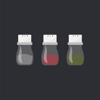 Condimentos de cocina conjunto ilustración vectorial
