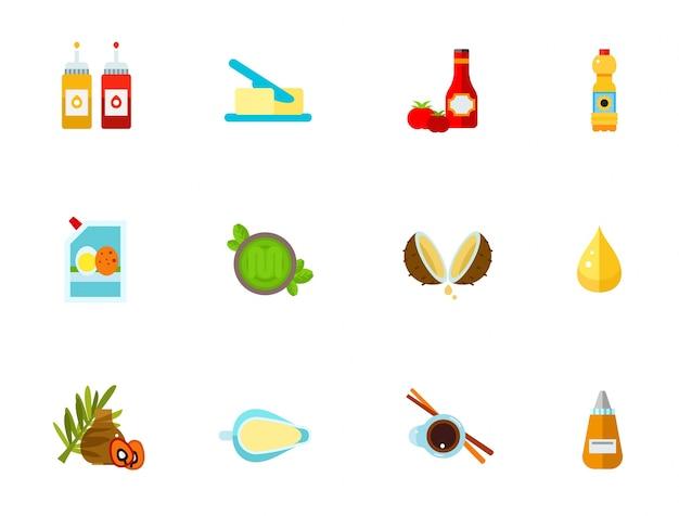 Condimentos conjunto de iconos