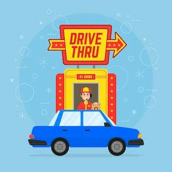 Conducir a través del cartel con coche y persona.