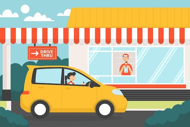 Conducir a través de la ilustración de la ventana con el coche
