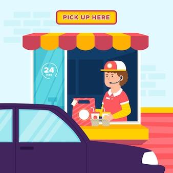 Conducir a través de la ilustración de la ventana con el trabajador