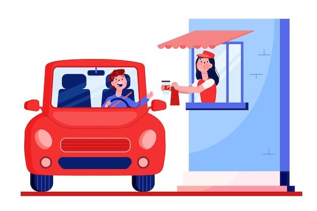 Conducir a través de la ventana ilustrada
