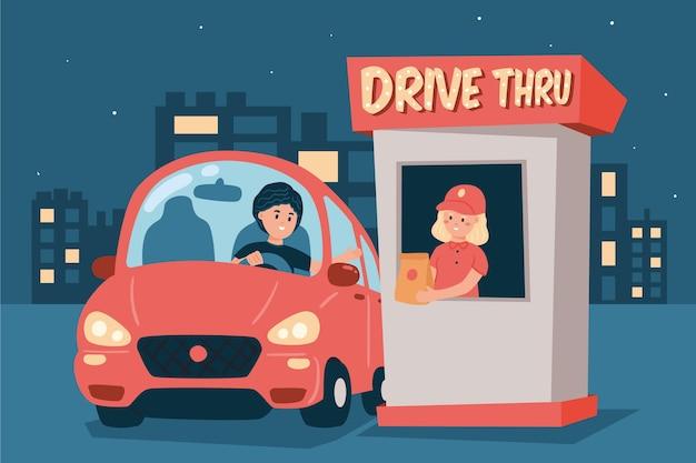 Conducir a través de la ventana por la noche