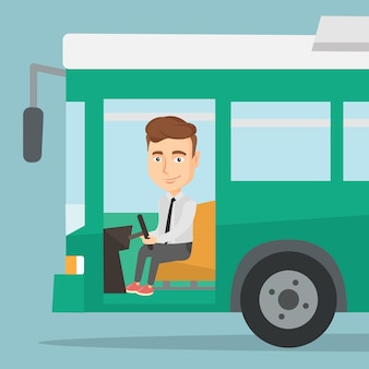Conductor de autobús caucásico sentado en el volante.