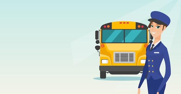Conductor de autobús escolar femenino caucásico joven.
