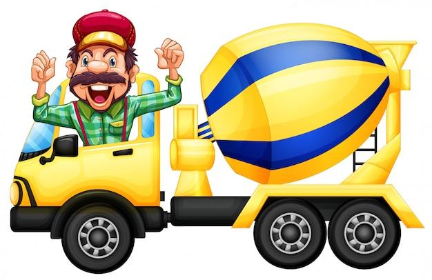Un conductor de camión de cemento en el fondo blanco