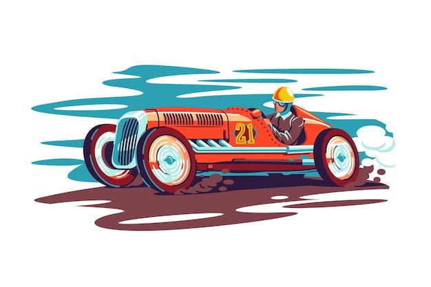 Conductor de hombre en coche de carreras rojo