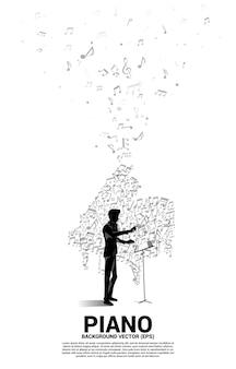 Conductor y melodía musical nota bailando icono de piano de forma de flujo. antecedentes del concepto de tema de canción y concierto.