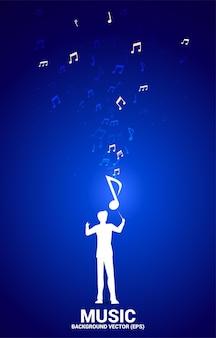 Conductor y melodía musical, nota, flujo de baile.