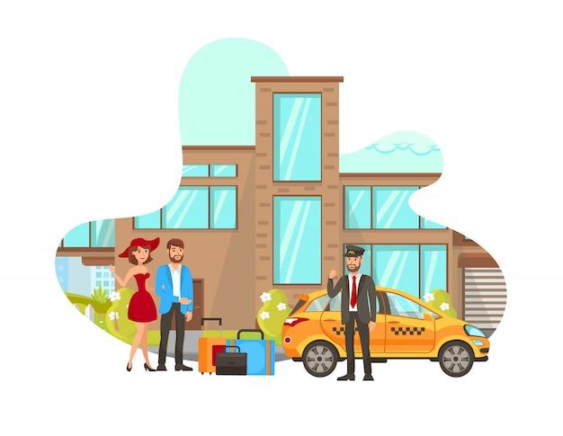 Conductor de taxi cumple con clientes vector illustration