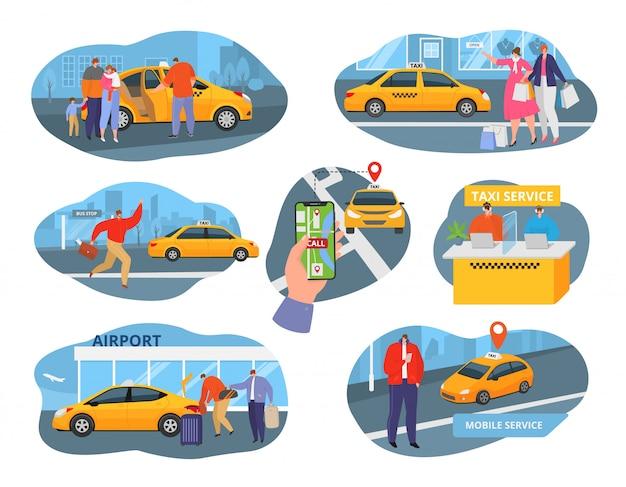 Conductor de taxi y servicio de iconos con transporte, personas que utilizan taxis y conjunto de ilustraciones de elementos del sistema de taxi. los pasajeros solicitan un vehículo de transporte de taxi, auto amarillo.