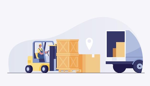 El conductor del trabajador en el cargador de la carretilla elevadora del almacén trabaja y sumerge las cajas en un camión. ilustración vectorial