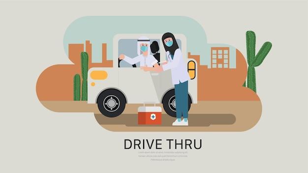 Conduzca para recibir la vacuna en el concepto de automóvil tratamiento covid19 nuevo estilo de vida normal musulmán indianarab
