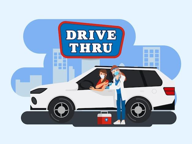 Conduzca hasta tomar la vacuna en el coche.