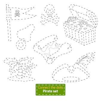 Conecta los puntos, juego educativo para niños. conjunto de piratas de dibujos animados de vector