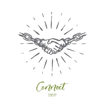 Conectar, contrato, acuerdo, asociación, concepto de comunicaciones. dibujado a mano personas estrecharme la mano concepto boceto. ilustración de vector aislado