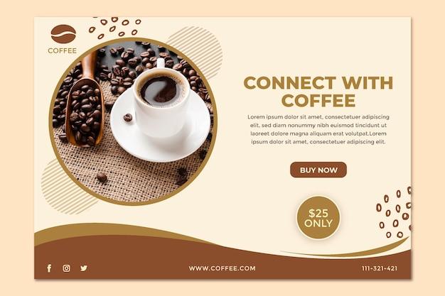 Conectar con plantilla de banner de café