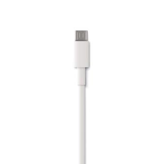 Conecte el extremo del cable del cargador de clavija blanca en estilo realista, ilustración vectorial aislado. cable de alimentación para cargar el teléfono inteligente, cable o cable conector