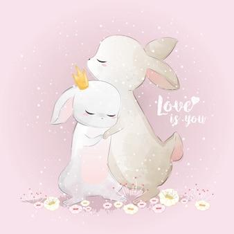 Conejito abrazándose