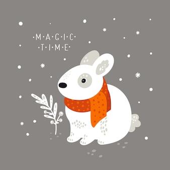 Conejito adorable aislado en el fondo con copos de nieve. cute dibujos animados divertidos liebre animal del bosque